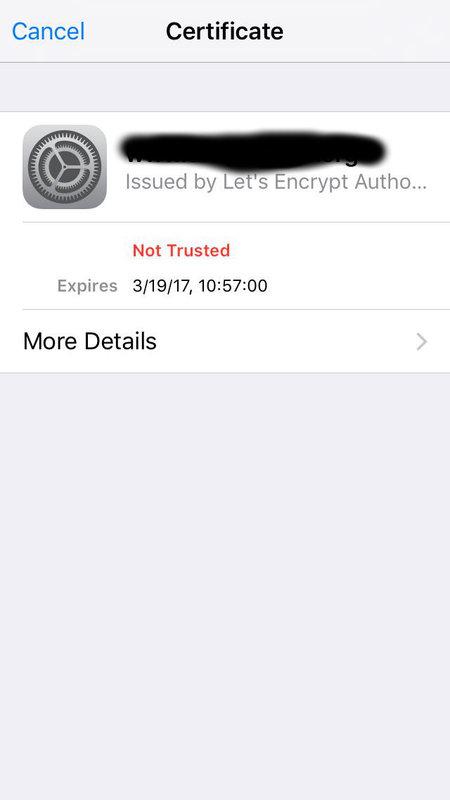 iOS - Kann Zertifikat nicht vertrauen. | MacUser.de Community