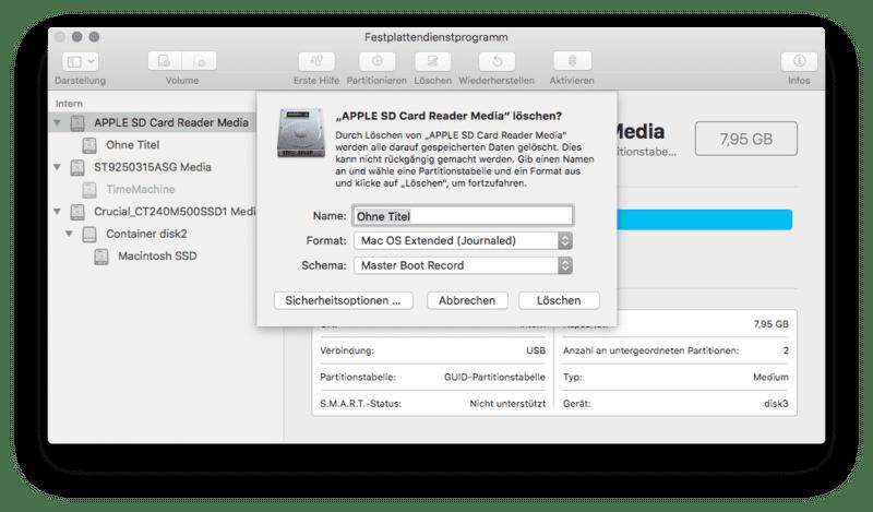 Sd Karte Formatieren Macbook.Macos High Sierra Sd Karte Lässt Sich Nicht Partitionieren Auf