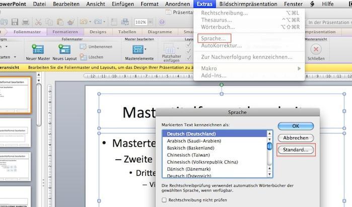 Powerpoint 2011: Sprache für Rechtschreibung umstellen. | MacUser.de ...