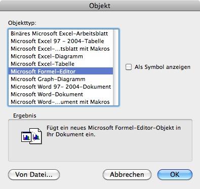 Word 2011: Formel-Editor unter \
