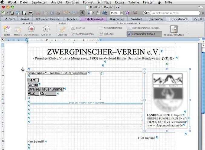 Office Word 2011 Wie Kann Ich Den Briefkopf Schützen In Den