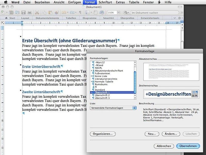 Word 2011: Formatierung der Überschriften wird nicht in ...